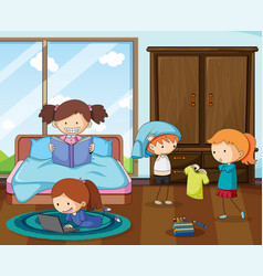 Group doodle kids in bedroom vector