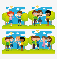 group of happy kids in the park scene characters vector image