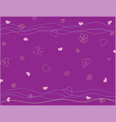 hand drawn abstract background with flowers heart vector image