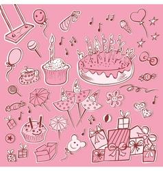 Happy birthday set pink vector