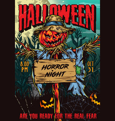 happy halloween colorful vintage poster vector image