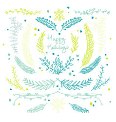 happy holidays greetings typography design concept vector image