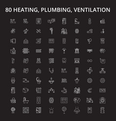 heating plumbing ventilation editable line icons vector image