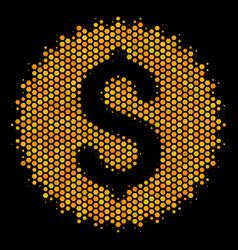hexagon halftone financial seal icon vector image