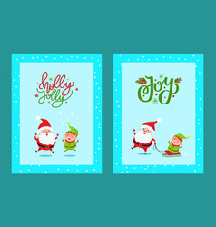 holly jolly cute greeting card with santa and elf vector image