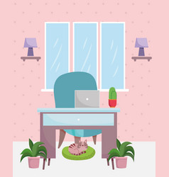 home office interior desk chair laptop cactus vector image