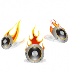 hot loudspeakers vector image