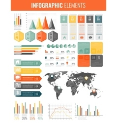 Infographic Elements with world map and charts vector