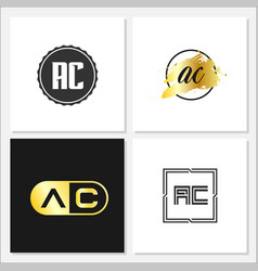 initial letter ac logo template design vector image
