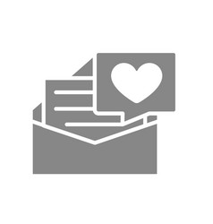 Letter with big heart gray icon declaration vector