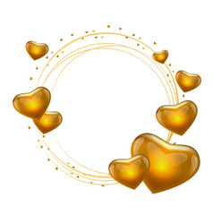 love frame with hearts gold circle vector image