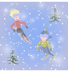 Man and woman are skiing vector image vector image