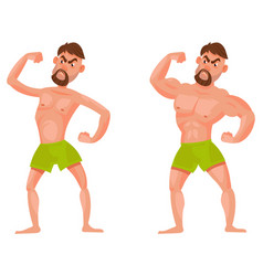 man before and after going to gym vector image