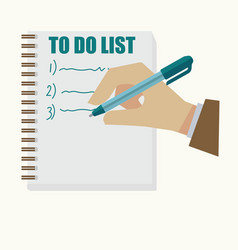 Man holding pen and writing on list in cartoon vector