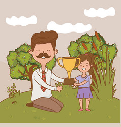 man with child and trophy vector image