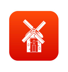 Mill icon digital red vector