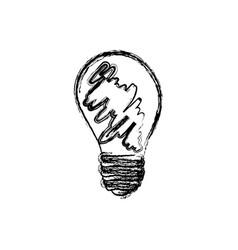monochrome sketch of lightbulb dirty vector image