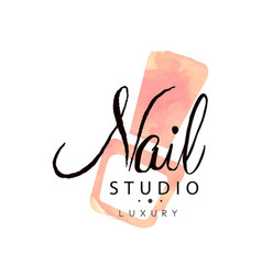 nail studio luxury logo design element for nail vector image