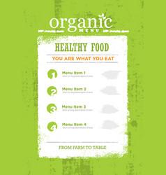 organic paleo rough food menu concept eco green vector image