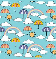 pattern with cute rainbow and umbrella vector image