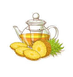 Pineapple tea vector