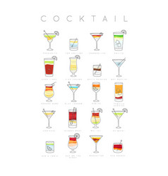 Poster cocktails flat vector