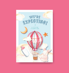 Poster template with baby shower design concept vector