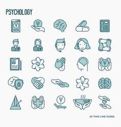 Psychological help thin line icons set vector