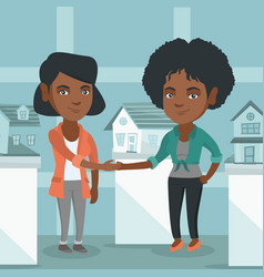 Real estate agent and client shaking hands vector