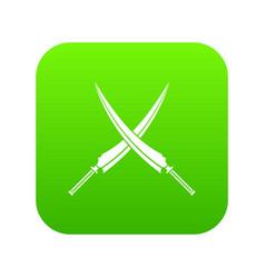 Samurai swords icon digital green vector