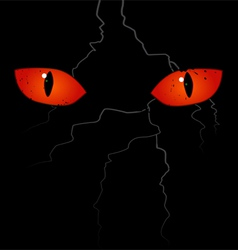 Scary eyes on black background vector
