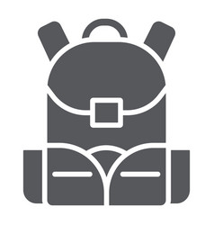 Schoolbag glyph icon rucksack and bag backpack vector