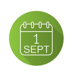 September 1st calendar green icon vector