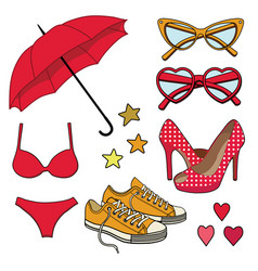 set fashion accessories vector image