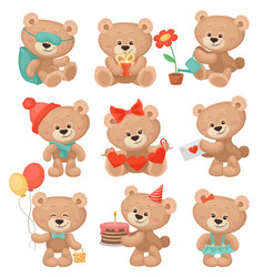 set of adorable teddy bears in different actions vector image