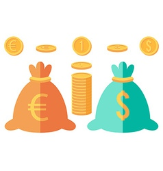 Set of dollar and euro coins and two money sacks vector
