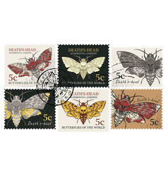 Set of postage stamps with butterfly dead head vector