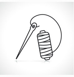 Sewing needle thin line icon vector