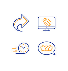 Share monitor repair and fast delivery icons set vector