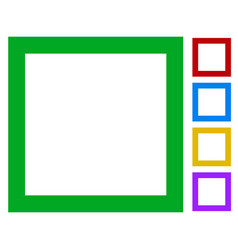 Simple basic frame border icons isolated on vector
