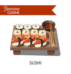 Sishi japanese food seafood sashimi rolls vector