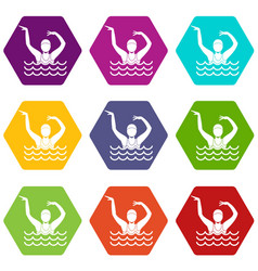 swimmer in a swimming pool icon set color vector image