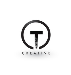 T brush letter logo design creative brushed vector