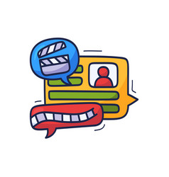 talk about movie and film doodle chat icons vector image