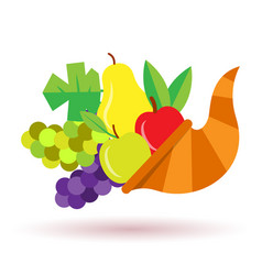Thanksgiving horn of plenty with fruits vector