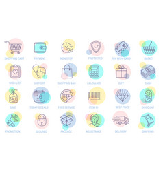 thin line online store sopping icon set vector image