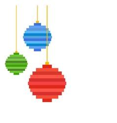 Three pixel art christmas tree ball flat design vector