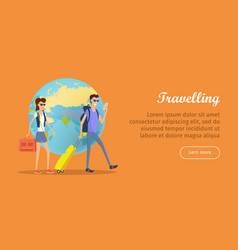 Travelers conceptual flat style web banner vector