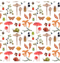 Watercolor autumn forest pattern vector