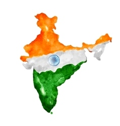 Watercolor painting of indian map vector